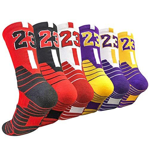 DILIBA Big Boys Number Basketball Crew Socks Sport Football Running Dry Feet Dri-Fit Mid Calf Half Cushion Thick Elite Socks Balck 6 Pairs