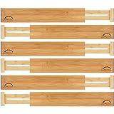 Bamboo Drawer Dividers (Set of 6) - Kitchen Drawer Organizers - Spring Adjustable, Expandable & Stackable Deep Drawers Organizer - Best for Kitchen Utensils, Silverware, Desk, Clothes Dresser Divider