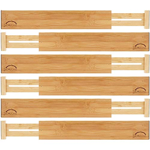 Read About Bamboo Drawer Dividers (Set of 6) - Kitchen Drawer Organizers - Spring Adjustable, Expand...