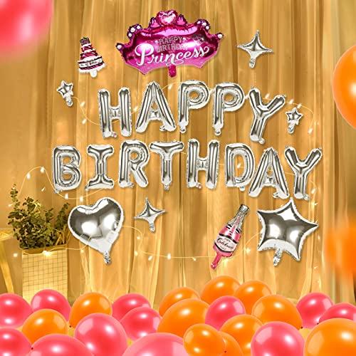 28pcs/Set Palloncini Compleanno Stringa con Luci,Buon Compleanno Banner,Compleanno Decorazione,Addobbi per Feste di Compleanno,Palloncini Compleanno 1 anno,18 anni,20 anni,30 anni,40 anni,50 anni