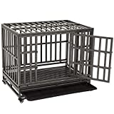 KELIXU 38' Heavy Duty Dog Crate Ultra-High Hardness Enhanced Steel Pet Kennel Playpen with Two Prevent Escape Lock, Large Dogs Cage with Four Wheels, Upgraded, Black