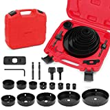 SEDY Hole Saw Kit, 19-Pieces Hole Saw Set with Red Case Include...