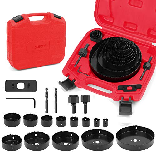 SEDY Hole Saw Kit, 19-Pieces Hole Saw Set with Red Case Include 13pc 3/4
