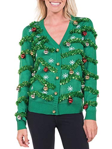 Women's Gaudy Garland Cardigan - Tacky Christmas Sweater with Ornaments: X-Large
