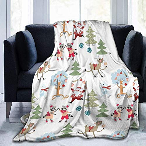 AEMAPE Christmas Pattern Reindeer Rudolph Santa Claus Cute Raccoons Polar Bears Fairy Winter Forest Small Throw Blanket Soft Warm Blanket