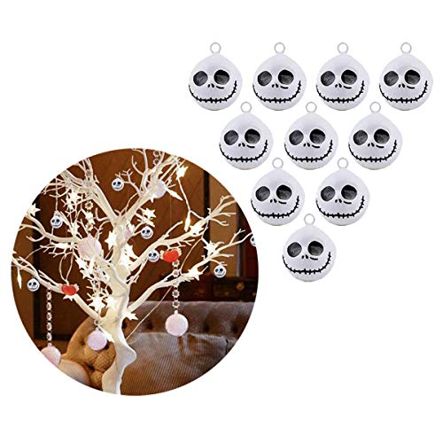 Halloween Jingle Bells Small Tree Decor 10Pcs Nightmare Before Christmas Pumpkin Copper Bell 19 Mm Jewelry Findings Making Charms Craft Kit DIY (White Monster Halloween)