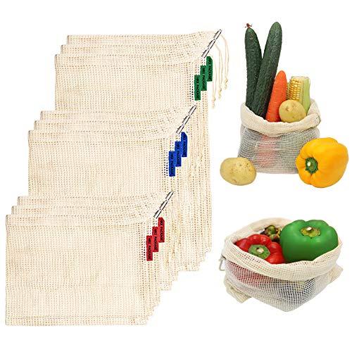 HRX Packung, wiederverwendbare Baumwoll-Netzbeutel, Kordelzug, Set von 9 Veggie Einkaufstaschen Netz für Lebensmittel Obst Gemüse (Größe L, M, klein)