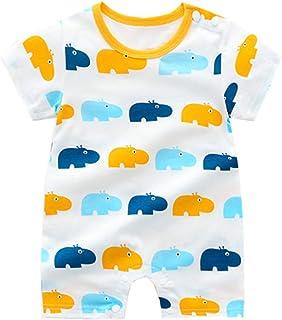 Treer Strampler Baby Mädchen und Jungs, Spielanzug 100% Baumwolle Sommer Babybody Baby Kurzarm-Body für Neugeborene Weich Short-Sleeve Bodysuits