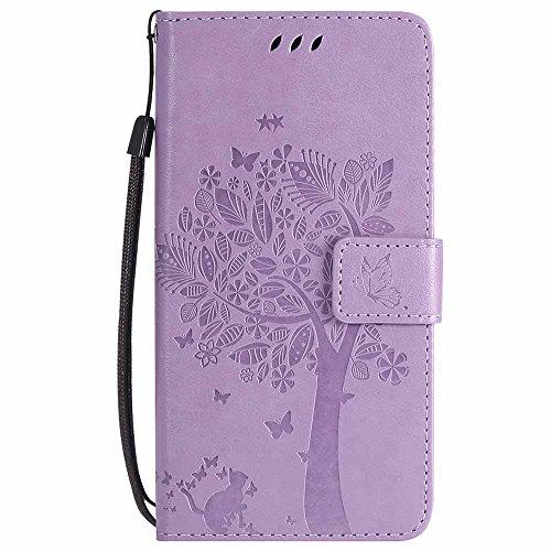 C-Super Mall-UK® Wiko Leny 4 Hülle, Prägung Baum Katze Schmetterling Muster PU Leder Brieftasche Ständer Flip Schutzhülle für Wiko Leny 4-Violett