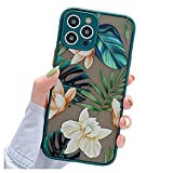 ooooops Compatible with iPhone 12 Pro Max Case for Women Girls, Green Leaves White Brown Floral, Slim Fit Translucent Full-Body Protective Phone Case Cover for iPhone 12ProMax 6.7'' (Leaves & Flowers)