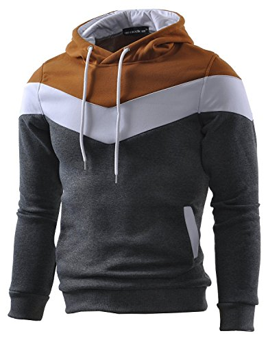 Mooncolour Mens Novelty Color Block Hoodies Cozy Sport Autumn Outwear, Dark Grey, US Medium