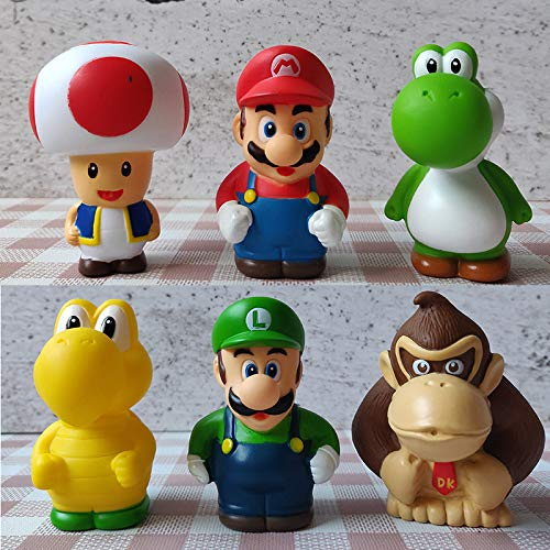 Super Mario Toys – Set of 6 Mario Figures with Luigi, Koopa Troopa, Yoshi, Donkey Kong, and Toad – Mario Action Figures – Mario Playset for Playing or Decoration