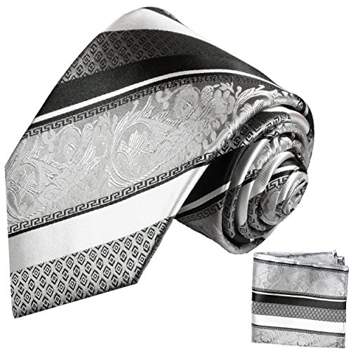 Paul Malone Silber schwarz gestreiftes Krawatten Set 100% Seidenkrawatte + Einstecktuch