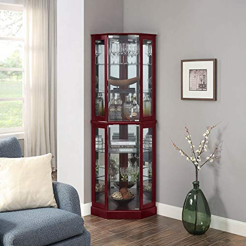 BELLEZE Ashfield Lighted Wood/Glass Curio Corner Cabinet Floor Standing, Cherry