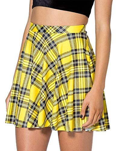 IDEALSANXUN Women's Plaid Short Skirt Mini Pleated Skirt (Small, Yellow)