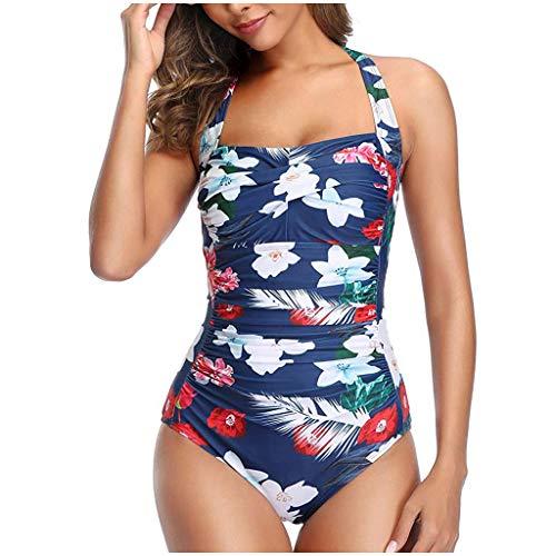 Women's Tummy Control Slim Fit One Piece Swimsuits for Women Halter Push Up Swim Romper Bathing Suit White