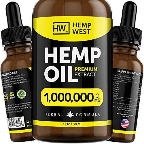 Hemp Oil 1,000,000 for Pain & Anxiety Relief – Sleep Support – Organic Extra Strong Formula – Vegan-Friendly – Helps for Skin, Hair - Pure Extract