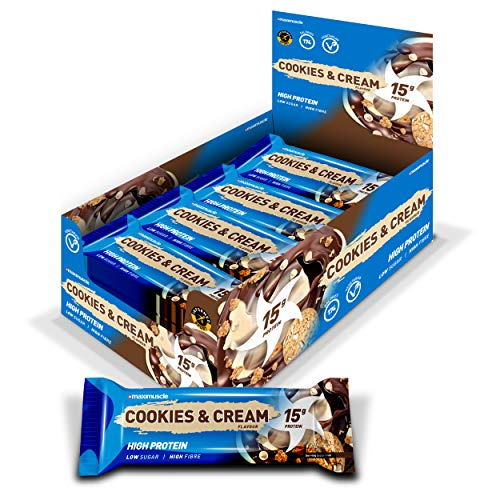MAXIMUSCLE Protein Bars, Cookies & Cream, 12 x 45g