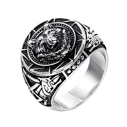 DFWY Norse Viking Wolf Rings para Hombres,Anillo de Cabeza de Lobo Celta Runa de Acero Inoxidable,Odin Fenrir Lobo Tótem Amuleto Vintage Animal Pagan Jewelry Regalo de Cumpleaños (Size : 08)