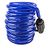 DocksLocks Anti-Theft Weatherproof Coiled Security Cable with Resettable Combination Lock 10ft