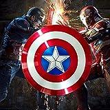 Escudo Capitan America Adulto/Niños Apoyos de Película CapitáN AméRica Shield Vengadores Disfraz de Material ABS Shield, 58CM