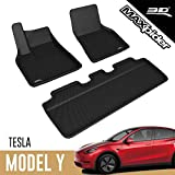 3D MAXpider All-Weather Floor Mats for Tesla Model Y 2020-2021 Custom Fit Car Floor Liners, Kagu Series (1st & 2nd Row, Black)