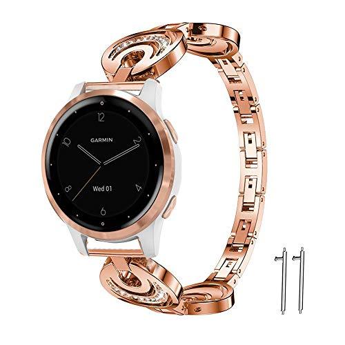 LvBu Damen Edelstahl Bracelet Kompatibel für Garmin vivoactive 4S, Kristall Rhinestone Diamant Uhrenarmband für Garmin vívoactive 4S 40mm Smartwatch (Roségold)