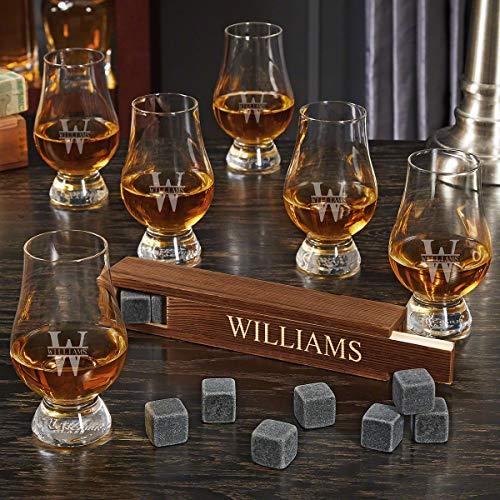 Oakmont Engraved Whiskey Stone Set with 6 Glencairn Whiskey Tasting Glasses (Personalized Gift)