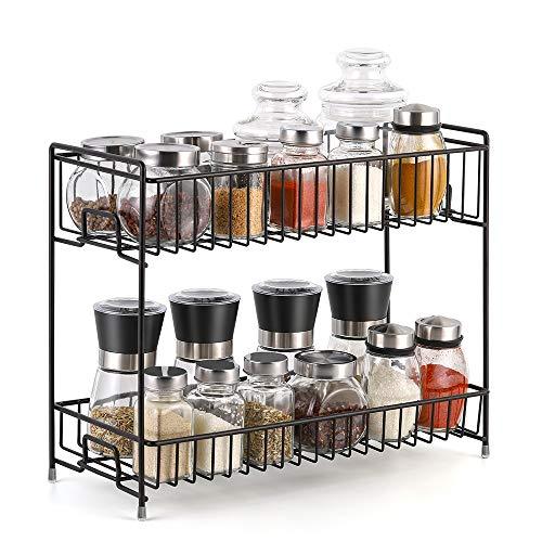 Gewürzregal 2 Ebenen Gewürzständer für küchenschrank küchen organizer 36,1 cm x 30,7 cm x 14,7 cm, Braun