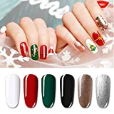Vishine Christmas Special Edition Series 6 Colors Gel Nail Polish Gift Set (Snow White, Bright Red, Forest Green, Black, Pearl Champagne, Pearl Silver) - Starter Nail Art Kit 8ml