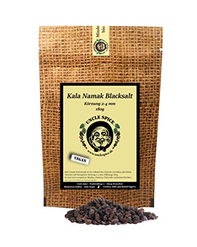 Uncle Spice Kala Namak Salz aus Indien - 180g Schwarzsalz, Original Himalaya Schwarzsalz Blacksalt - Gourmetsalz, Steinsalz, Schwarzsalz als vegane Alternative zum Ei, Geschenkidee