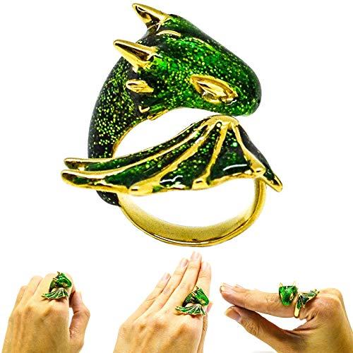 Zhenlujia Gold Topaz Dragon Ring Lucky Finger Pet,Adjustable Lucky Finger Pet Dragon Ring,Enamel Rings Women Cute Animal Finger Ring for (1 PC Green)