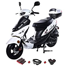 50cc moped brought by Moto Pro and comes with X PRO gloves, goggle and hand grips. Top speed varies depending on rider's weight and road condition If a rider has over 220lbs, top speed might be less than 20 mph. Easy, dependable electric starting wit...
