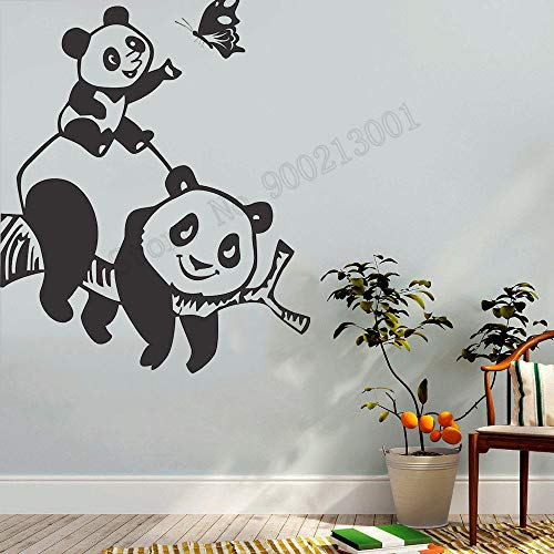 zqyjhkou Funny Panda Butterfly Wall Sticker Vinyl Art Removeable Poster Beauty Fashion Cute Kidsroom Ornament Decals L71x57cm
