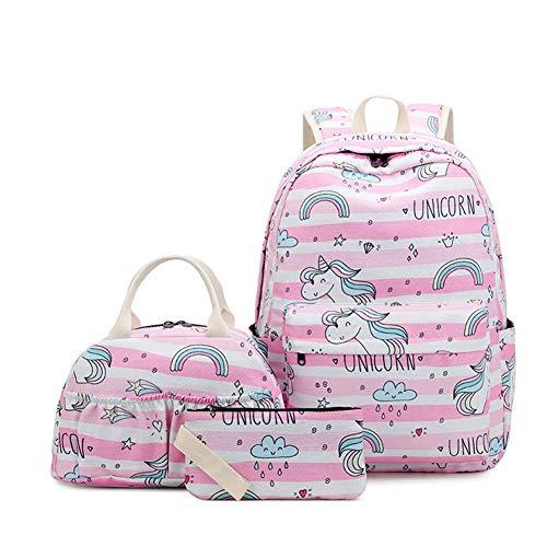 Zokrintz School Backpack for Girls Teens Bookbag Set Cute Unicorn Backpack 3 in 1 School Bags with Lunch Bag