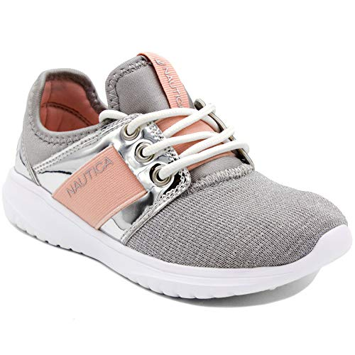Nautica Missy Youth Girls Athletic Fashion Cross Trainer Lace Up Running Sneakers-Primage Youth-Silver-4