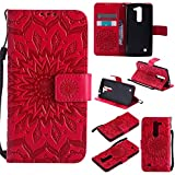 GLORYSHOP Mobile Phone Case for LG Volt 2,[Wrist Strap] Sunflower PU Leather Wallet Flip Protective Case Cover with Card Slots and Stand for LG Volt 2/LG Magna/LG G4 Mini/LG G4C, Red