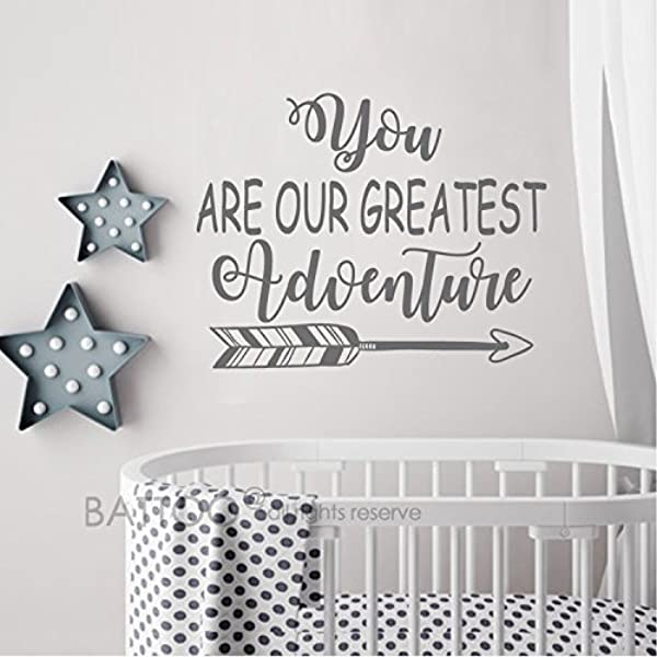 BATTOO You Are Our Greatest Adventure Wall Decal Quote Nursery Wall Decal Arrow Wall Art Sticker Baby Nursery Decor Dark Gray 16 WX12 5 H