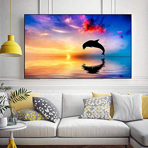 Wohnzimmer Dekoration Leinwand Gemälde von Meerestier Delphin springen Poster Wandbild im Sonnenuntergang Rahmenloses Gemälde 30x55cm