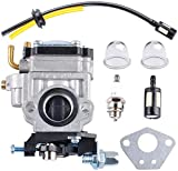Wadoy 145BT Carburetor Compatible with Husqv-Arna Backpack Blower Parts with Fuel Line Kit, Spark Plug Fit for Husqvarna 145BT Kawasaki TE45DX Walbro WYK-74 WYK-74-1