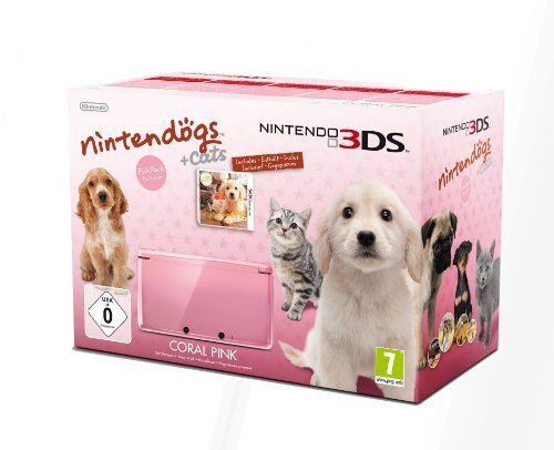 3DS Konsole rosa + Nintendogs und Cats