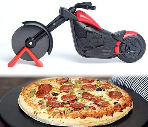 CathEU Motorrad Pizzarad, Pizzaschneider, Pizzaroller, Pizza-Schneider, Edelstahl-Pizzaschneider Radschneider, Unterstützung für die Reinigung der Spülmaschine (Black)