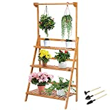 VIVOSUN Plant Stands for Indoor Plants 3 Tier Bamboo Hanging Plant Stand Foldable Planter Shelves Plant Holder for Patio Garden Balcony Office