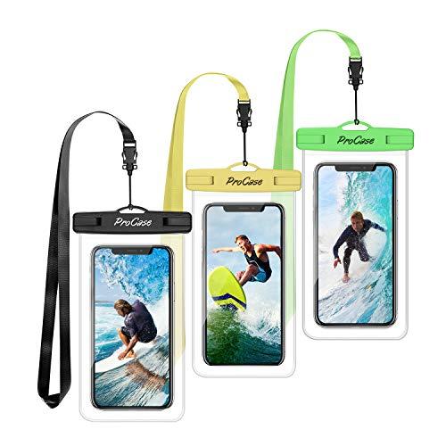 ProCase 3 Bolsas Impermeables Universales para iPhone 12 Mini/Pro/Pro MAX/iPhone SE 2020/XS Max/XR/X/8/7+, Galaxy S20/S20+/S10/S10e/S9/S9+/Note8, Huawei Xiaomi LG BQ hasta 6.9' -Verde/Amarillo/Negro