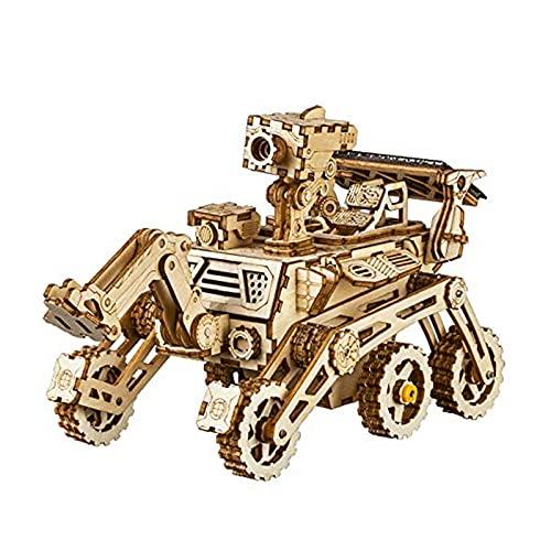 Robotime 3D Holz Puzzle-Solarbetriebene STEM Spielzeug - Laserschneiden DIY Roboter Auto Modellbau Kits Alter 14 Kinder und Erwachsene (Curiosity Rover)