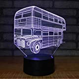 Doble Decker Turismo Bus Productos electrónicos Luces visuales 3D Regalo personalizado Luces de noche Luces automotrices Led Usb Lámpara 3D