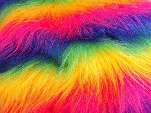 CRS Fur Fabrics Lange Flor Fun Kunstfell Stoff Material Rainbow Mix
