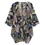 Fenverk Damen Chiffon Floral Kimono Leicht Sommer Cardigan 3/4 Arm Beach Cover Up Bikini Boho Strandkleid(Schwarz,S)