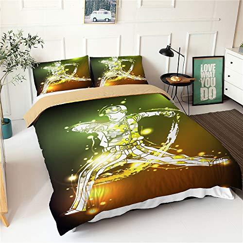 Chickwin Bettbezug Set 4 Teilig, 3D Drucken Modern Bettwäsche-Set 4 TLG Bettwäsche Set Mikrofaser Weiche mit Reissverschluss Bettbezug Kissenbezüge Bettlaken (Gelbgrün,180x220cm)