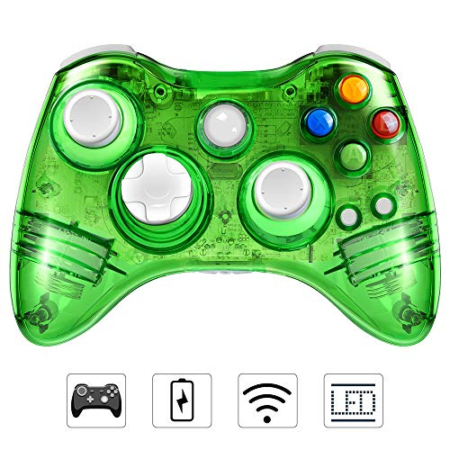Wireless Controller for Xbox 360, PowerLead Wireless Gamepad Vibration Shock for Microsoft Xbox 360/Windows/PC with 7 LED Flashing Lights (Green)